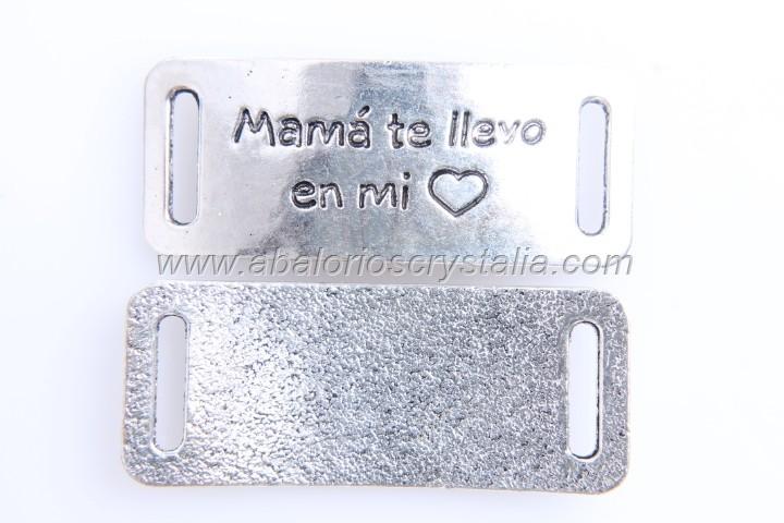 CONECTOR Mamá te llevo en mi corazón PLATA ANTIGUA 38x15mm