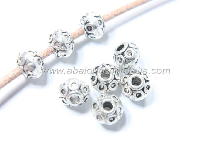 10 ABALORIOS ESPACIADOR TIBET PLATA ANTIGUA 5.5x7mm