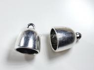 5 CAPUCHONES PLATA ANTIGUA CON ANILLA  16x14 mm