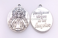 5 MEDALLAS Protégeme virgen de los ángeles 28x20mm