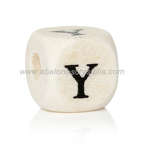 10 CUBOS DE MADERA abc LETRA Y COLOR NATURAL BLANCO
