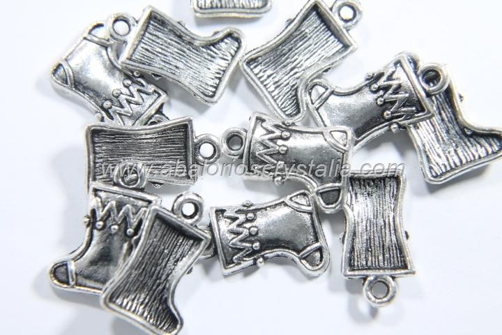 10 COLGANTES BOTA NAVIDAD PLATA ANTIGUA 17x11mm