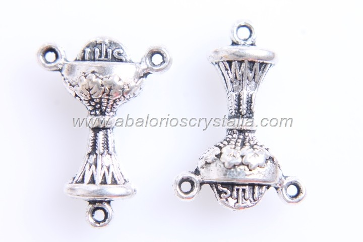 5 CONECTORES TRIPLES CÁLIZ SAGRADO PLATA ANTIGUA 22x15mm