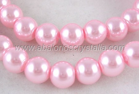 15 PERLAS DE CRISTAL COLOR ROSA CLARO 10mm