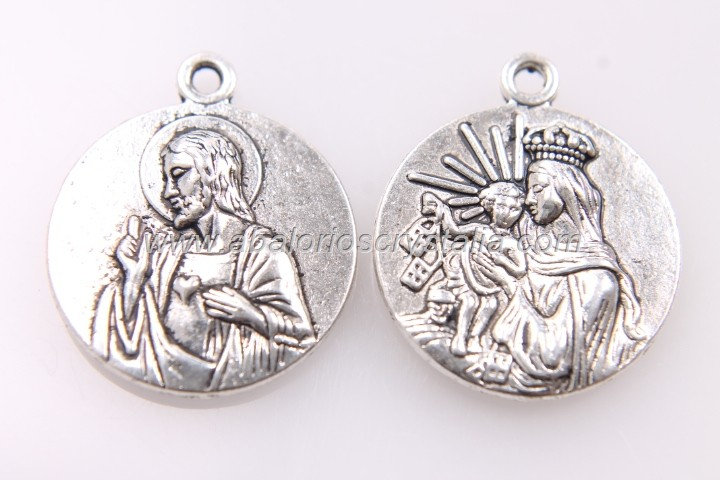 5 MEDALLAS SAGRADO CORAZÓN PLATA ANTIGUA 23x19mm