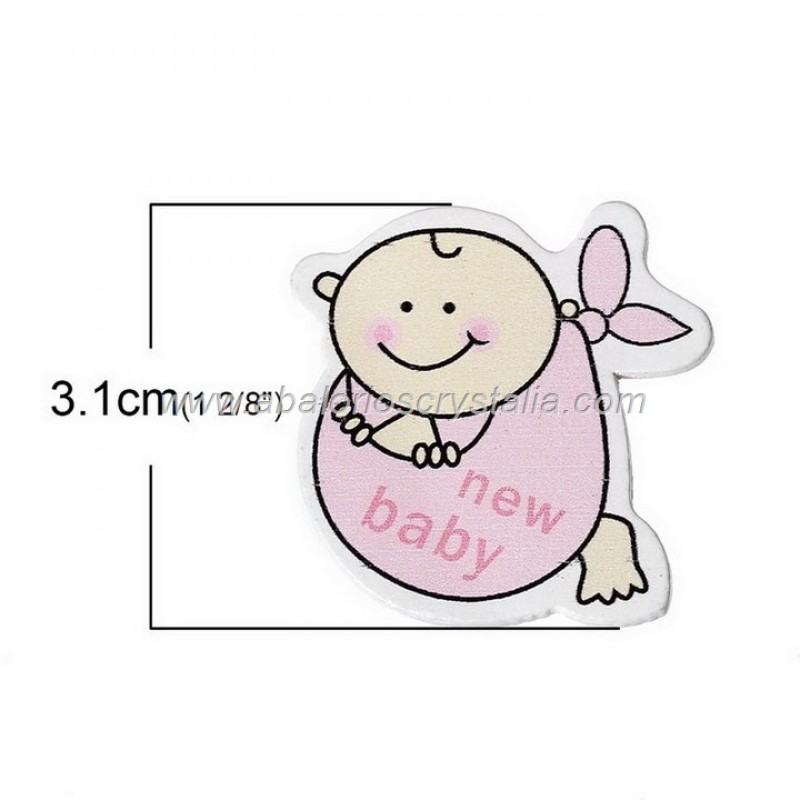 5 CABUCHONES DE MADERA NEW BABY 3.1cm x 3.1cm