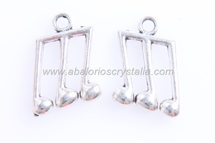 5 COLGANTES NOTA MUSICAL PLATA ANTIGUA 20x12mm