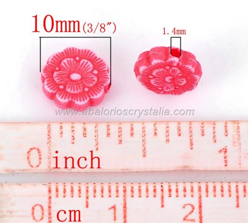 25 FLORES MIX DE COLORES ACRILICAS 10mm
