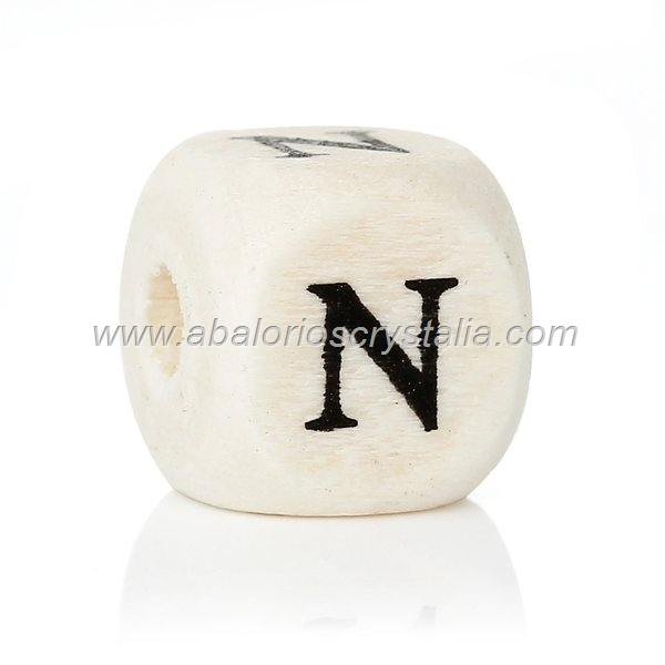 10 CUBOS DE MADERA abc LETRA N COLOR NATURAL BLANCO