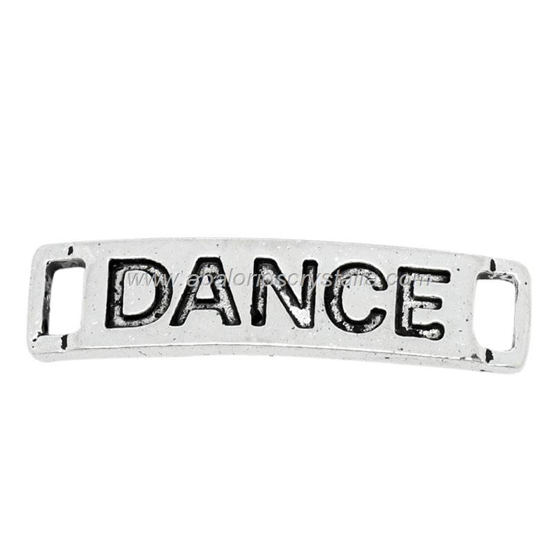 5 CHAPAS CONECTORAS PLATA ANTIGUA Dance 27x6mm
